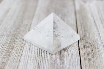 Natural quartz crystal from Brazil polished into a pyramid shape
