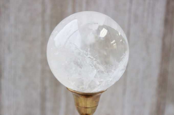 Natural Quartz crystal from Brazil polished in a sphere